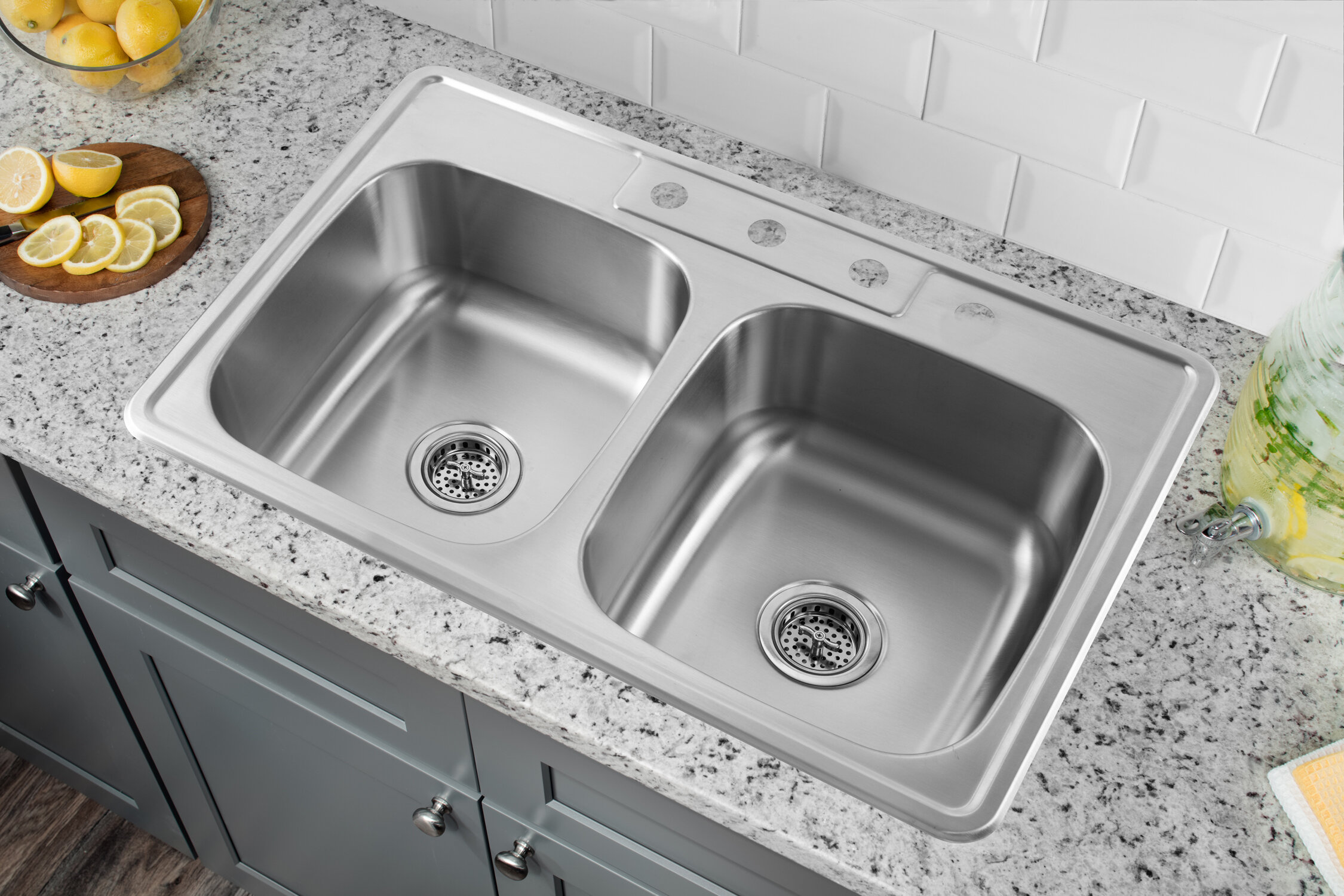 Prime 33 L X 22 W Stainless Steel Drop In Double Bowl Kitchen Sink Complete Home Design Collection Lindsey Bellcom