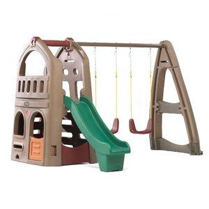 Naturally Playful Playhouse Climber Swing Set