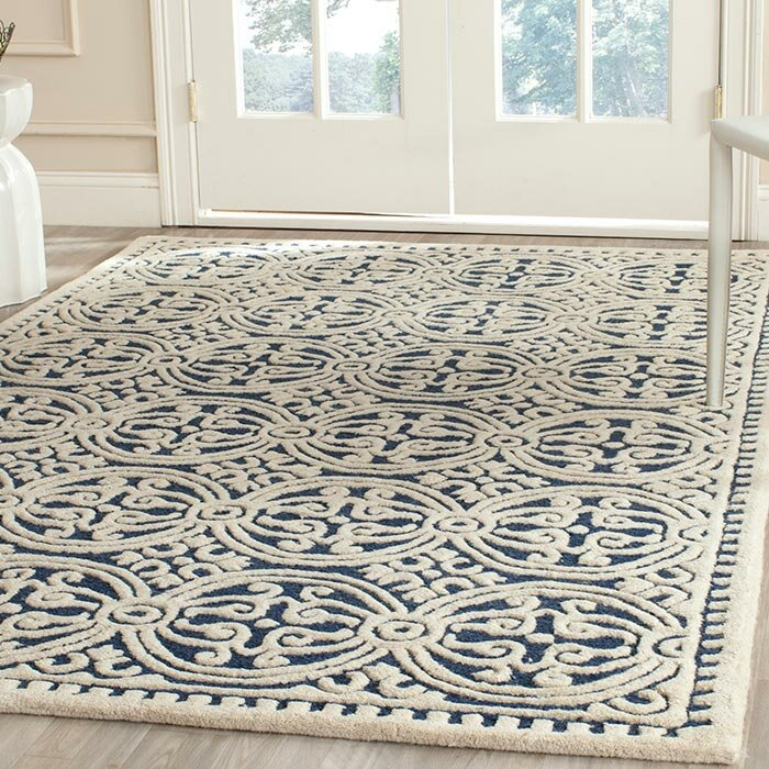 Logan Square Hand Woven Wool Navy Ivory Area Rug