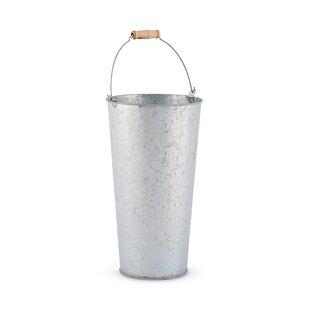 Tall galvanized flower buckets wayfair galvanized flower market bucket with handle set of 2 mightylinksfo