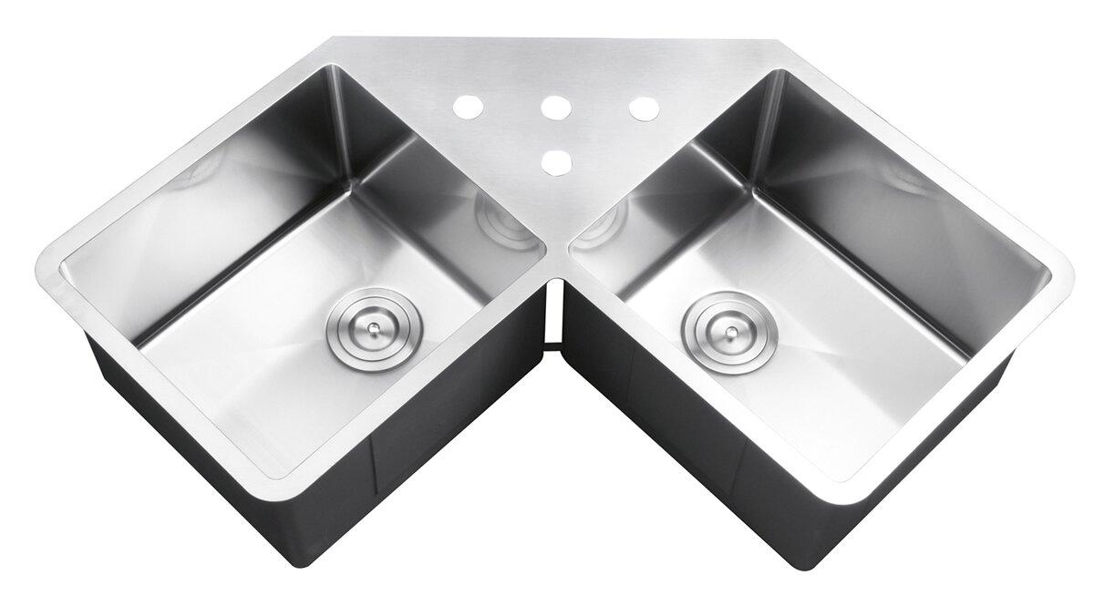 gravena 43 75   x 23   undermount corner double bowl kitchen sink ruvati gravena 43 75   x 23   undermount corner double bowl kitchen      rh   wayfair com