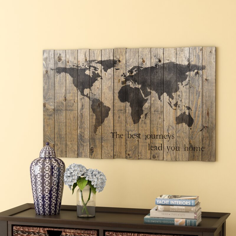 Breakwater Bay World Map Graphic Art On Plaque Amp Reviews