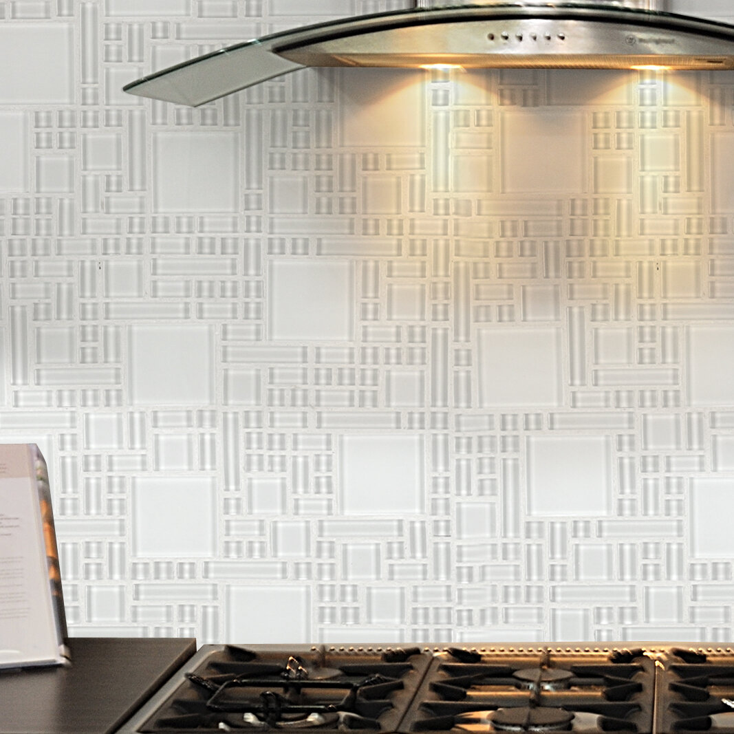 Instant Mosaic 12\'\' x 12\'\' Glass Peel & Stick Mosaic Tile in Pure ...
