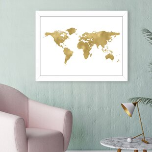 Gold world map wall art youll love wayfair world map gold framed graphic art gumiabroncs Gallery