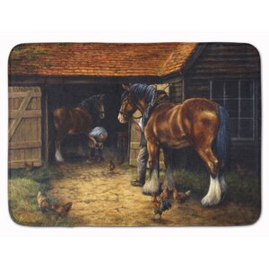 Horse and Blacksmith by Daphne Baxter Memory Foam Bath Rug