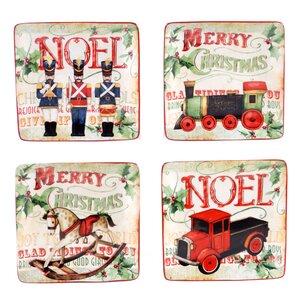Santa's Workshop Canape Plate 4 Piece Set