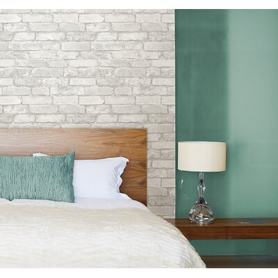 """Grey and White 18' x 20.5"""" Brick Peel And Stick Wallpaper Roll"""