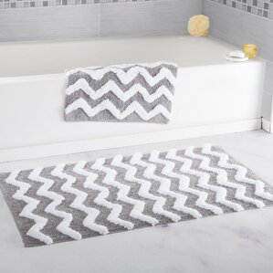Gray Silver Bath Rugs Mats Youll Love Wayfair - Black and white tweed bath rug for bathroom decorating ideas