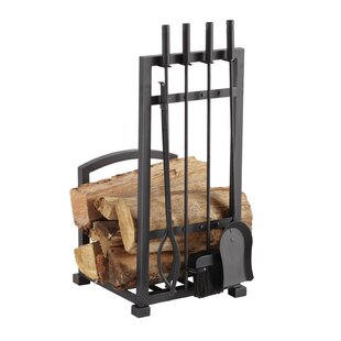 Fireplace tools youll love wayfair 4 piece harper fireplace log holder and tool set teraionfo