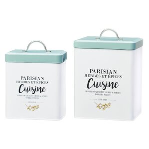 Parisian Cuisine Metal 2 Piece Kitchen Canister Set