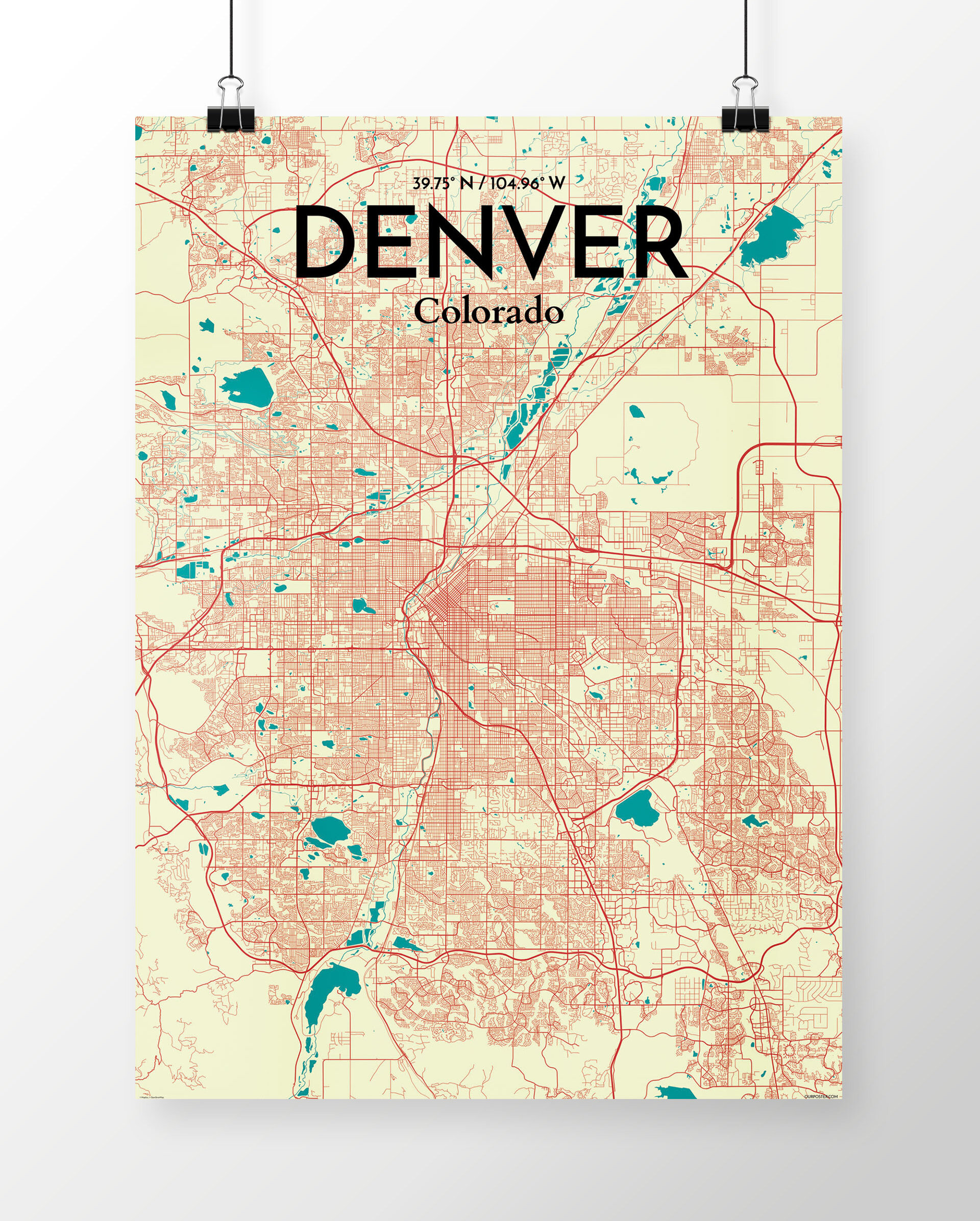Wrought Studio 'Denver City Map' Graphic Art Print Poster in Beige on