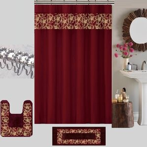 maroon shower curtain set. Berlin Shower Curtain Set Ivory  Cream Ruffled Curtains You ll Love Wayfair