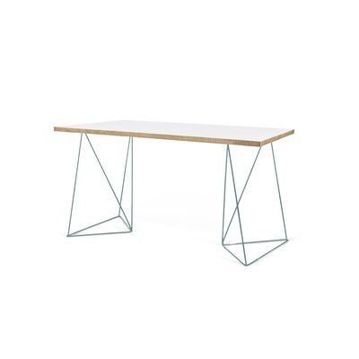Brayden Studio Wolak  Wood Writing Desk Finish: Pure White, Hardware Finish: Sea Green Lacquered Steel