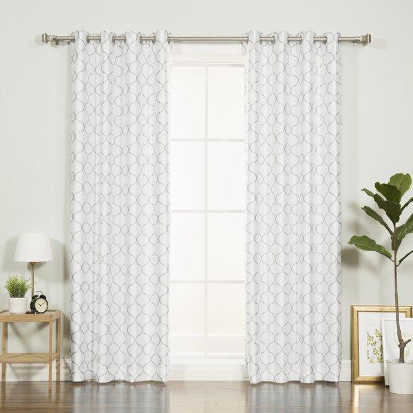 Best Home Fashion Inc Faux Silk Quatrefoil Geometric Blackout Thermal Grommet Single Curtain Panel Reviews