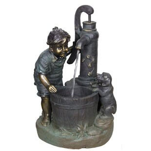 Attractive Resin Pewter Patio Fountain