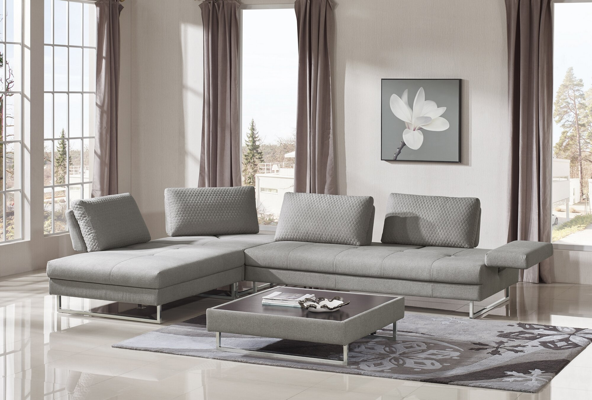 Wensley Modern Fabric Sectional Sofa 4 Piece Living Room Set
