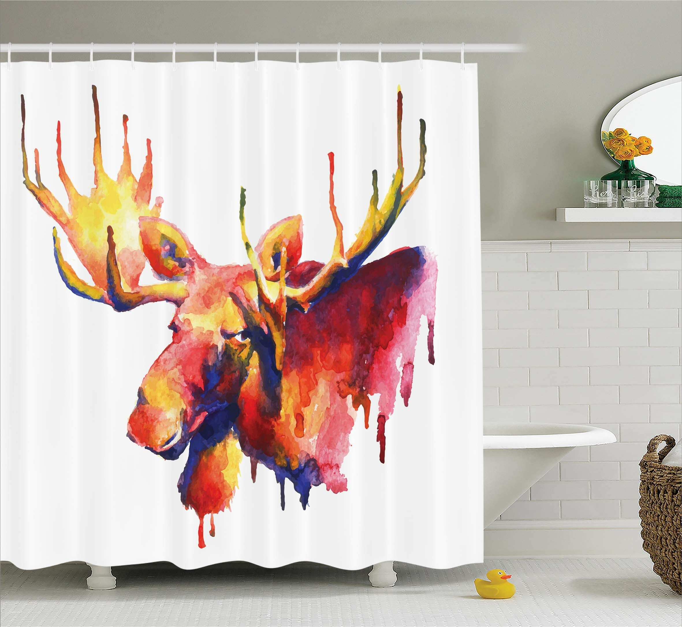 Loon Peak Auburn Psychedelic Watercolors Shower Curtain