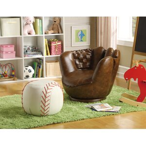 Baseball Glove Kids Faux Leather Chair and Ottoman