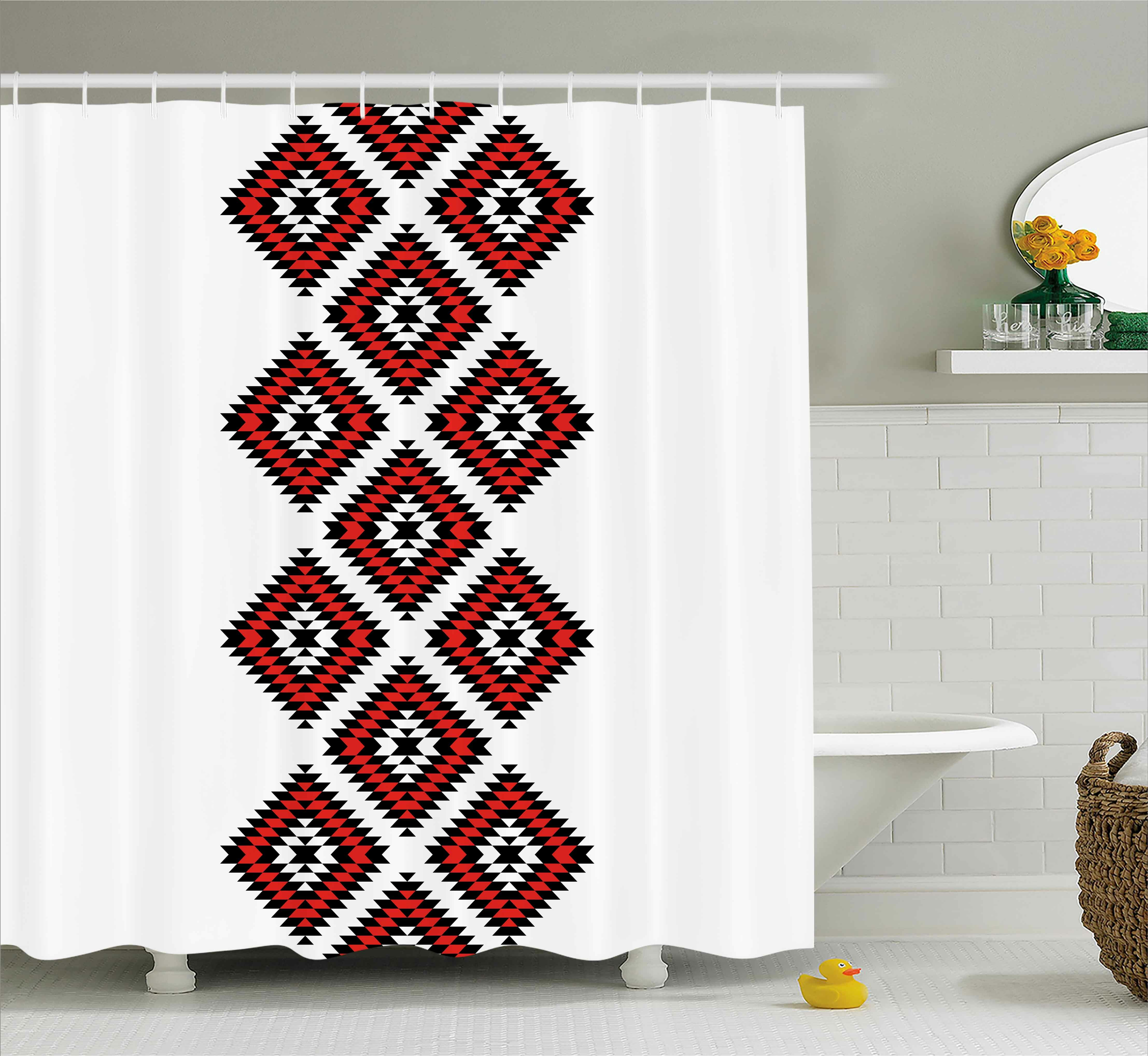 0ff4441664 Susie Tribal Native American Zig Zag Aztec Ethnic Motif With Embroidery  Ornaments Image Single Shower Curtain