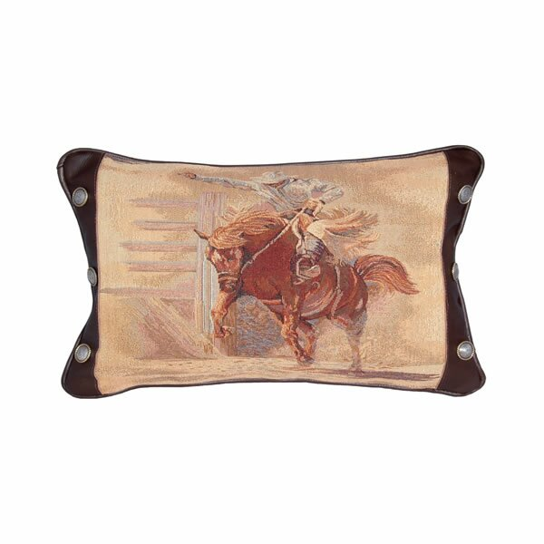 Leather and Decorative Conchos Leather Throw Pillow