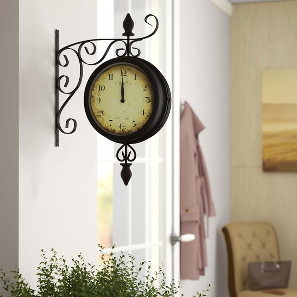 Clocks Home Furniture DIY Brass Victoria Station Double Sided Railway Clock Functional Decor UK