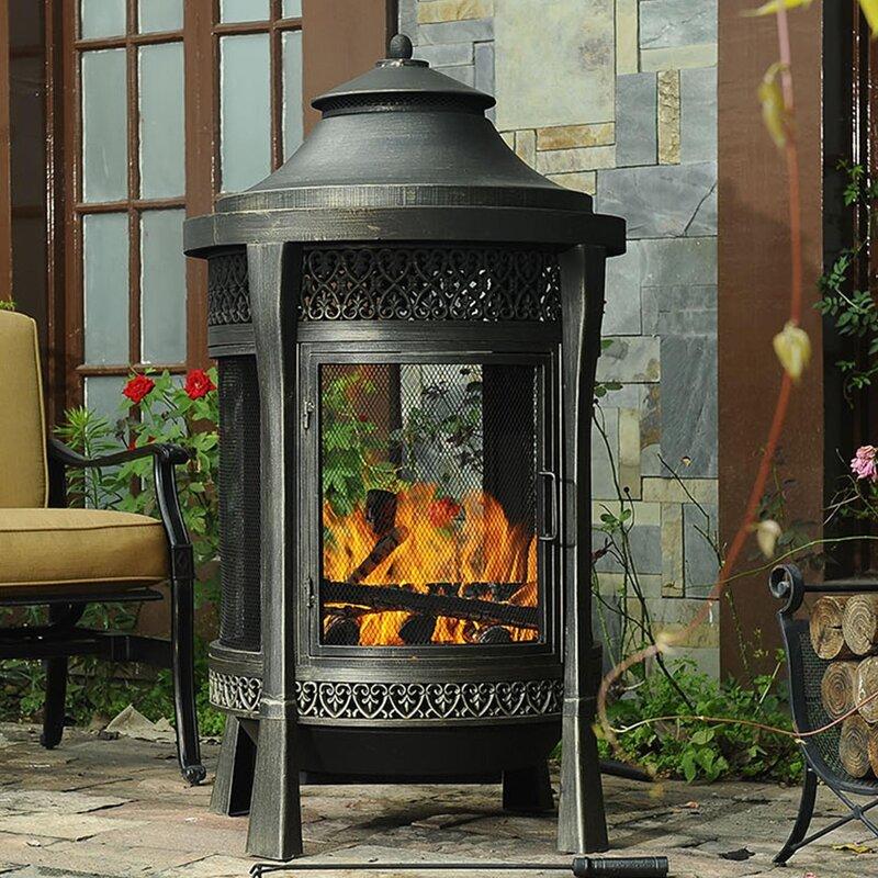 Sunjoy Moira Cast Iron Aluminum Wood Burning Pagoda