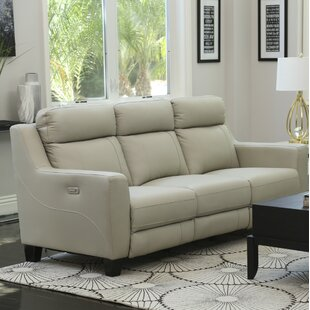 Florham Grey Top Grain Leather Power Reclining Sofa And Recliner Set