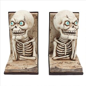 Pondering Literary Skeleton Bookends (Set of 2)