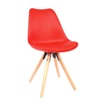 George Oliver Beyers Upholstered Dining Chair Leg Color: Natural, Upholstery Color: Red
