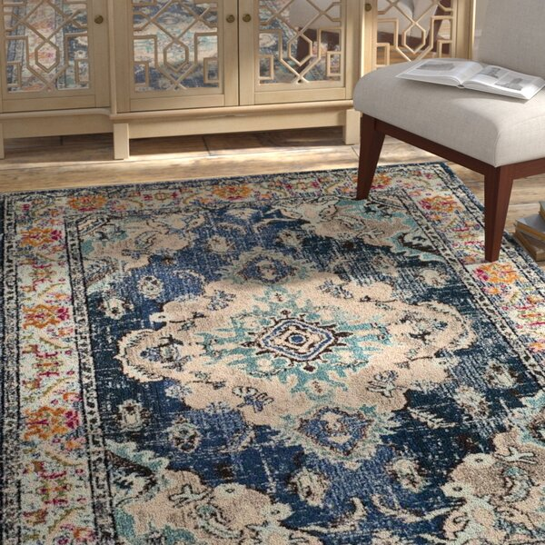 Annabel Power Loom Navy Blue Area Rug by Bungalow Rose