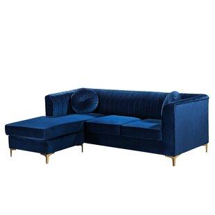 Modern Contemporary Navy Blue Velvet Sectional Allmodern