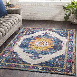 Lillo Distressed Traditional Blue/Yellow Area Rug