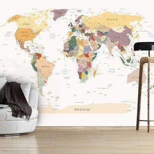 World map wallpaper wayfair world map 245m x 350cm wallpaper by artgeist gumiabroncs Gallery