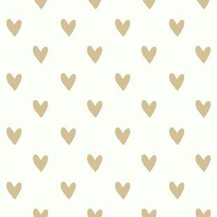 """Akeman 16.5' L x 20.5"""" W Gold Heart Spot Peel and Stick Wallpaper Roll"""