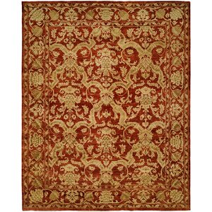 Hand-Knotted Red/Gold Area Rug