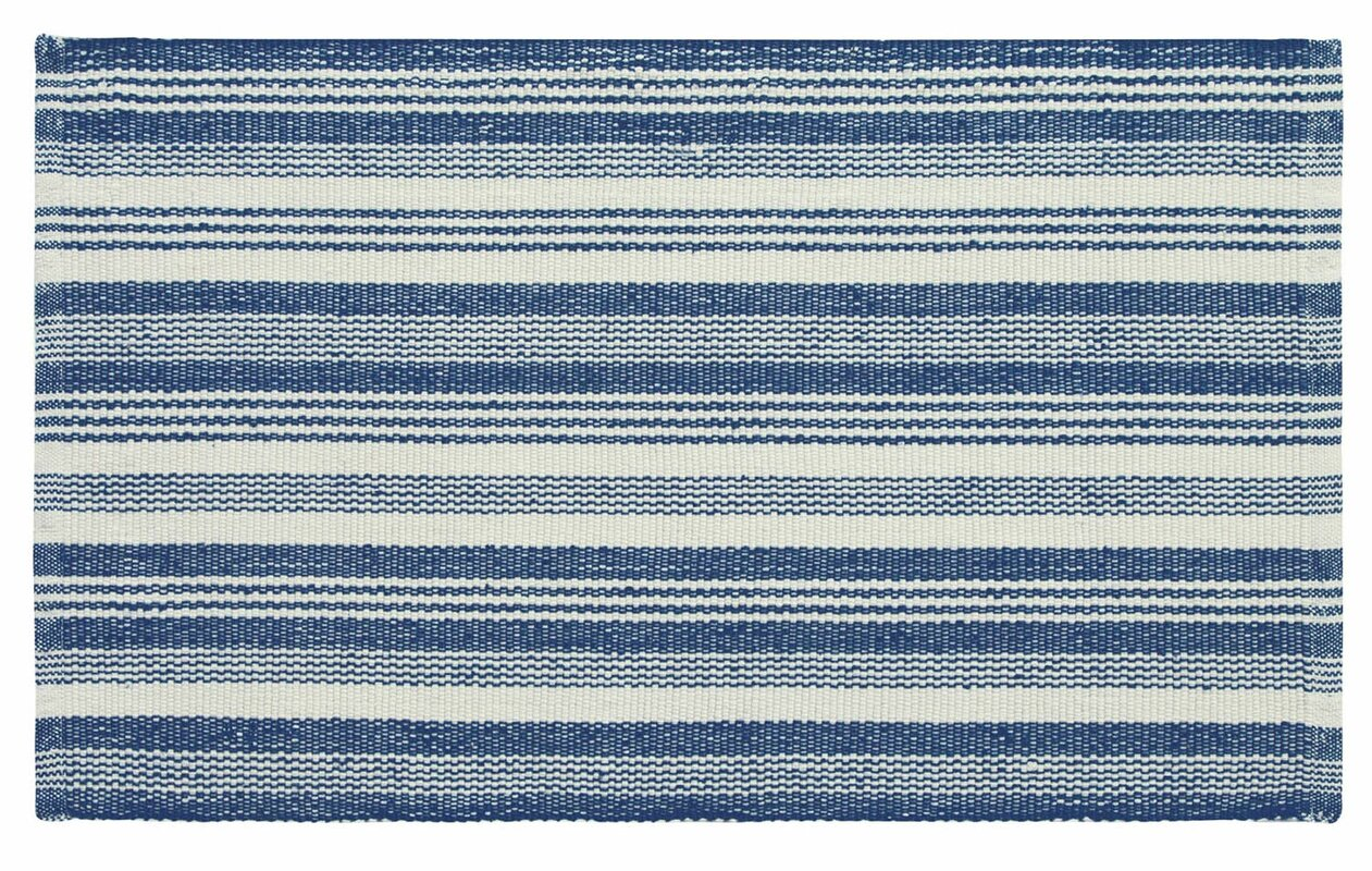 Companyc ticking stripe hand woven blue white indoor for Woven vinyl outdoor rugs
