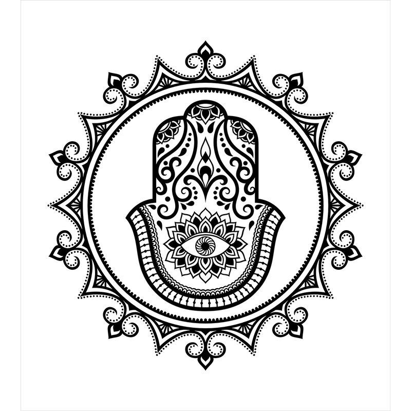Ambesonne Hamsa Hand Drawn Symbol With Evil Eye In Mandala Ethnic