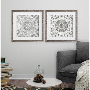 Mandala Sunburst 2 Piece Framed Graphic Art Print Set