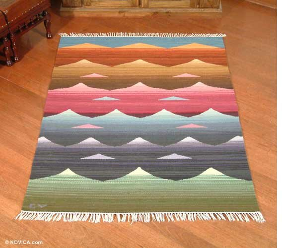 Artisan Crafted Multicolor Nature Inspired Hand Woven South American Naturally Dyed Wool Home Decor Area Rug & Novica Artisan Crafted Multicolor Nature Inspired Hand Woven South ...
