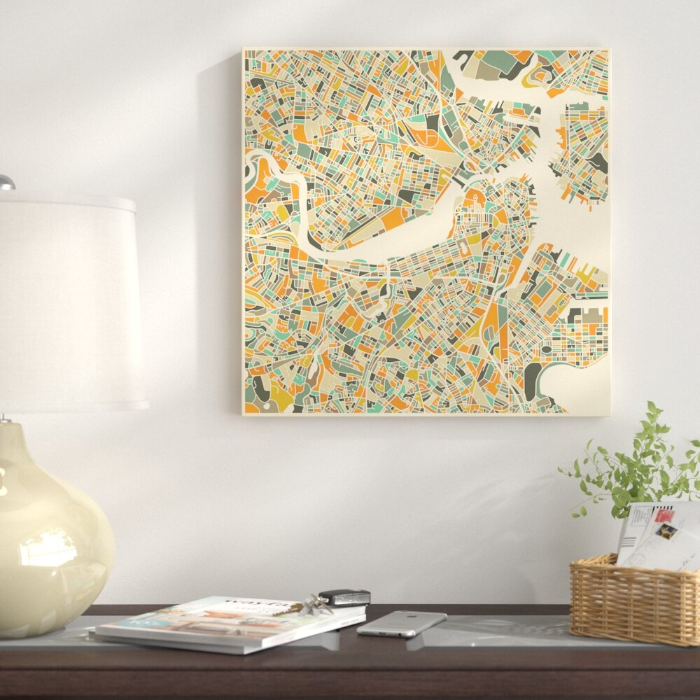 East Urban Home \'Abstract City Map of Boston\' Graphic Art on Wrapped ...