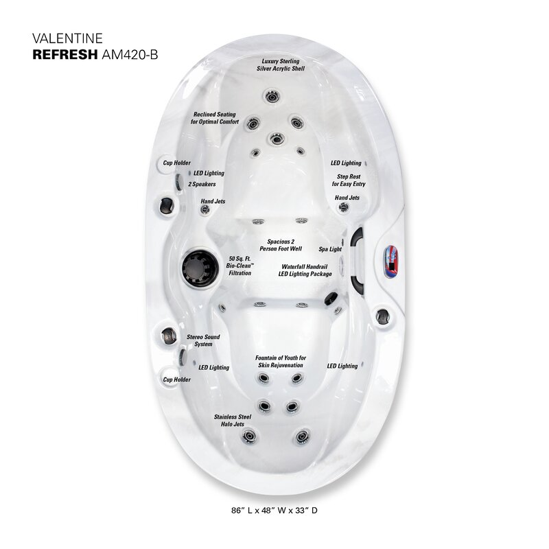 American Spas Valentine 2-Person 20-Jet Plug and Play Spa with ...