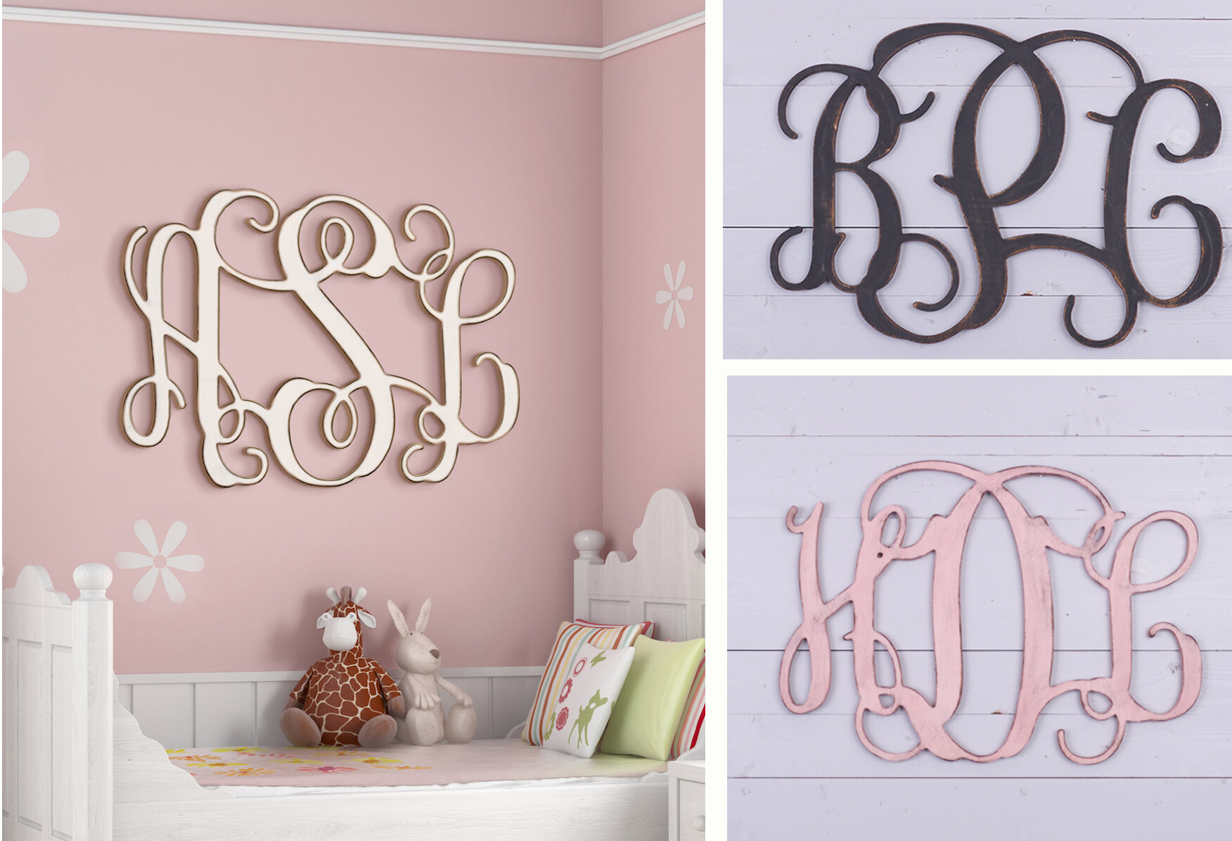 Painted 3 Letter Monogram Wall Decor