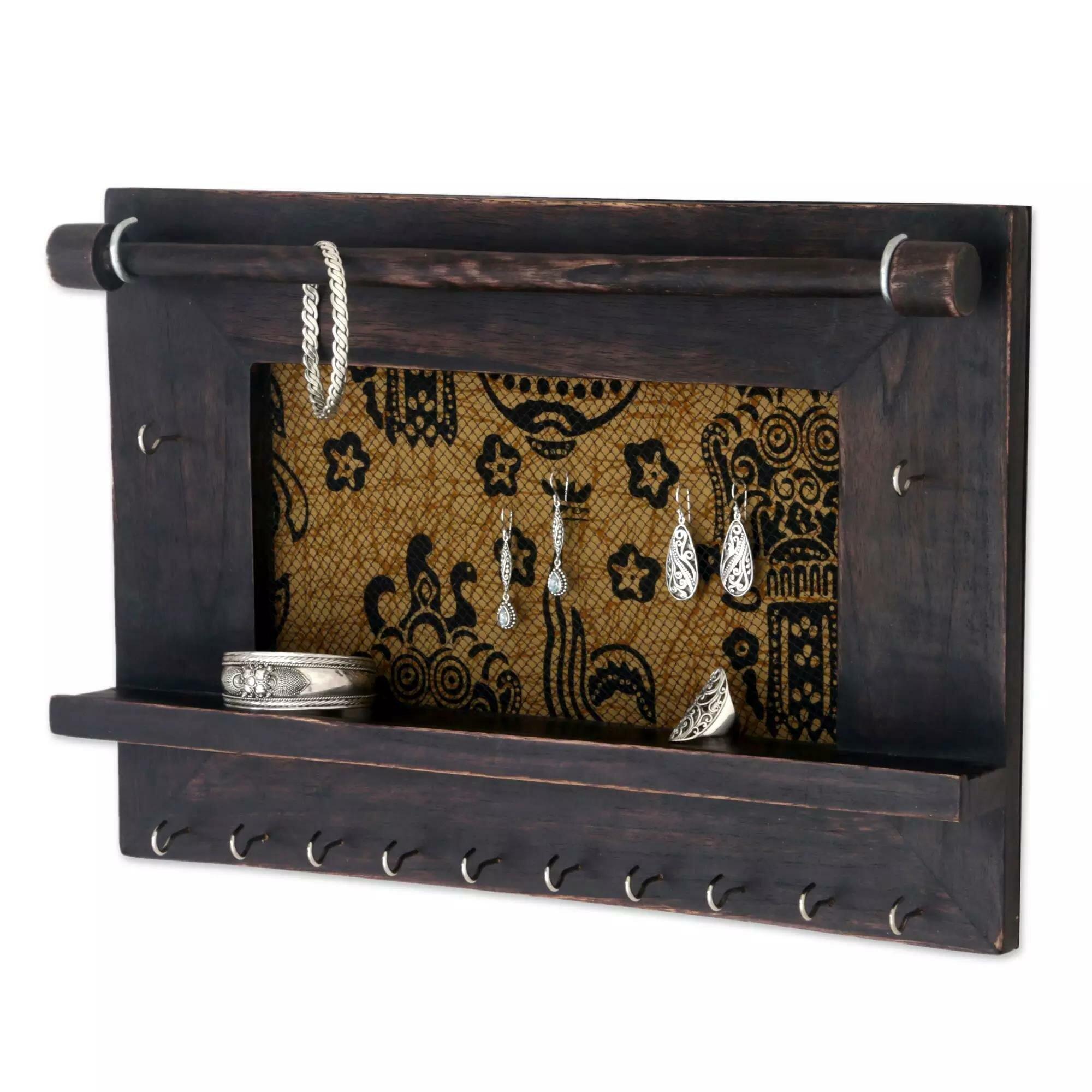 Bloomsbury Market Dark Brown Wood Wall Mounted Jewelry Box Wayfair