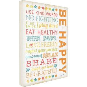 Stella Be Happy Kids Typography Canvas Wall Art