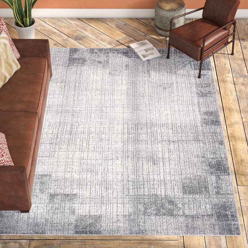 Williston Forge Brooks Distressed Modern Abstract Gray