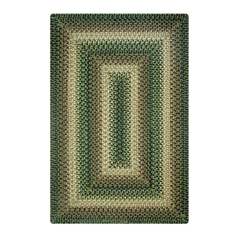 """Baylee Hand-Braided Green Indoor/Outdoor Area Rug Rug Size: Rectangle 2'3"""" x 3'0.75"""" -  August Grove"""