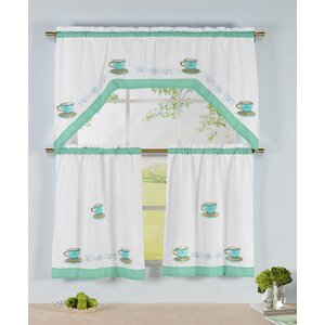 Tea Time 3 Piece Embroidered Kitchen Valance and Tier Set