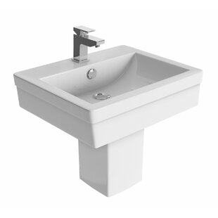 Richard Ceramic Rectangular 455 mm Semi Pedestal Basin by Belfry Bathroom