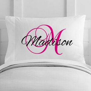 Personalized Script Name and Initial Toddler Pillow Case