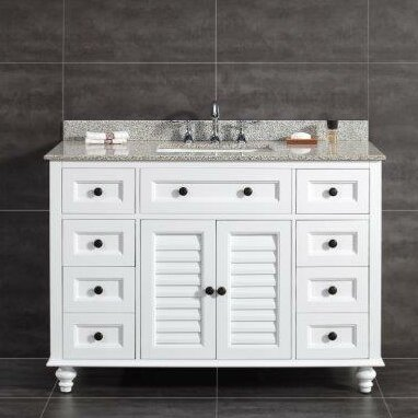 Heather 48 Single Tiger Granite Top And Rectangular Basin Vanity Set